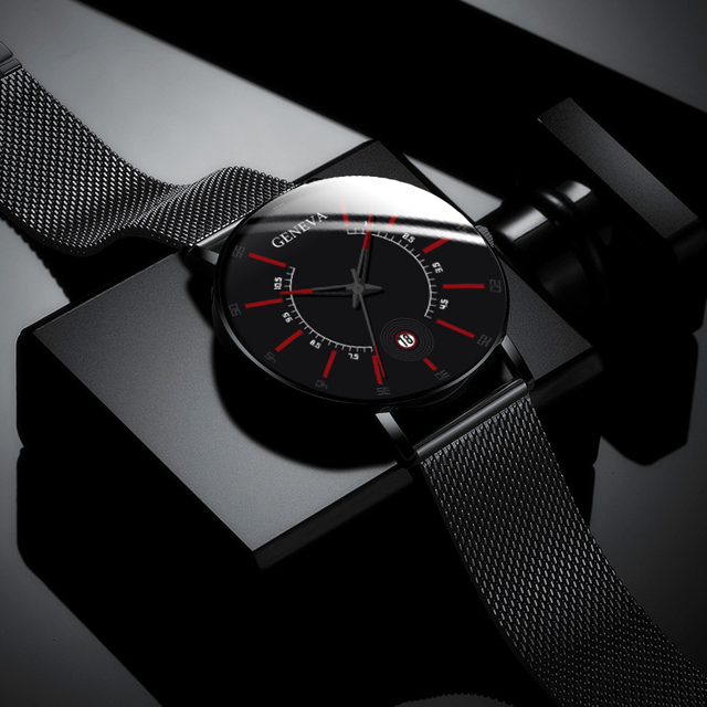 2020 Fashion Men's Business Minimalist Watches Ultra Thin Stainless Steel Mesh Band Analog Quartz Watch Relogio Masculino reloj