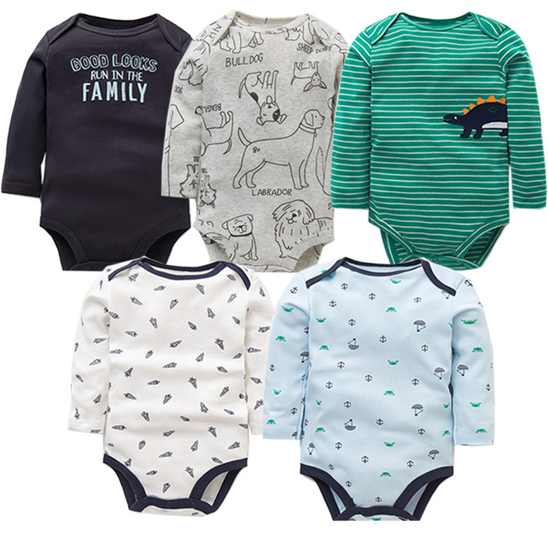 5Pcs/Lot Baby Bodysuits High Quality Uniesx Newborn Baby Clothes 100% Cotton Baby Clothing Set Infant Bebe Baby Boy Girl Clothes