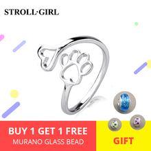 925 sterling silver cute paw print ring for men women dog pet fashion jewelry accessories Sterling-silver-jewelry