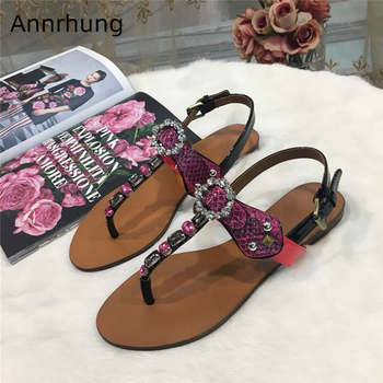 Sexy Serpentine Butterfly-knot Summer Shoes Woman Jeweled Rhinestone T-strap Flat Beach Shoes Holiday Sandals Women