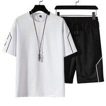 Тренировка костюмы мужские белые черные джоггеры комплект мода повседневный спорт костюм футболка шорты спортивный костюм мужские повседневные летние 2 предметы мужские% 27 комплекты