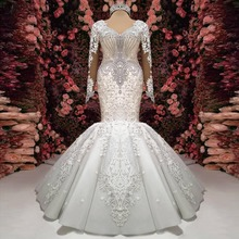 Luxe Crystal Mermaid Trouwjurken 2020 See Thru Volledige Mouwen Lace Bridal Dress Sexy Bruidsjurken Vestido De Voiva
