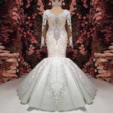 Robe De mariée luxueuse sirène en cristal, robe De mariée en dentelle, manches longues, transparente, Sexy, 2020
