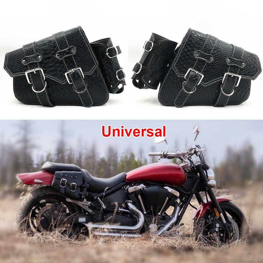 Motorcycle Universal Saddle Side Bag PU Leather For Harley Honda Suzuki Yamaha