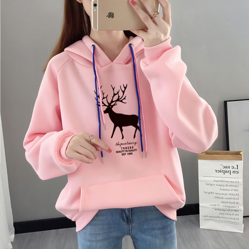 Letter Friends Printing Chic Simple Gray Color Hoody Jumper Hooded Sweatershirt Pullovers Autumn Winter Casual