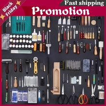 59Pcs Leather Craft Tools Kit Hand Sewing Stitching Punch Carving Work Saddle Leather Craft Accessories DIY Leather Home Tools
