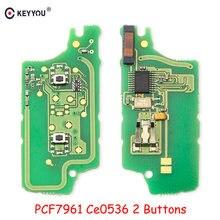 KEYYOU-placa de circuito electrónico de llave de coche, dispositivo remoto de 2 botones para Peugeot 307, 308, 408, 407, 207, Citroen C2, C3, C4, PICASSO, CE0536