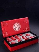 Chinese Style Red Ceramic Tea Set Home Kung Fu Black Tea Da Hong Pao Teaware Wedding Gift Boxed Wedding Free Shipping