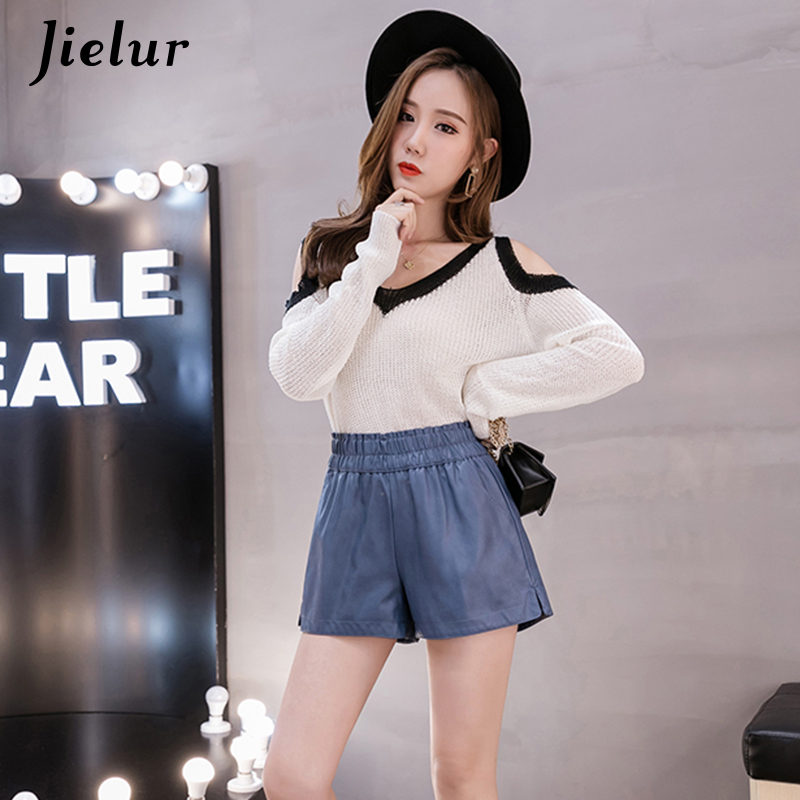Jielur Korean Shorts Elastic Waist Wide-Leg Winter High-Street Femme Fashion New Black