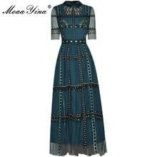 MoaaYina – robe de soirée en maille pour femmes, col rabattu, taille haute, rayures brodées, Vintage, élégante, été