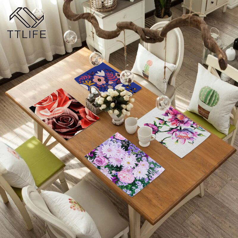 TTLIFE Printed Fabric Flower Pattern Dining Table Placemat Kitchen Decoration Mat Linen Heat Insulation Cup Tableware Pad