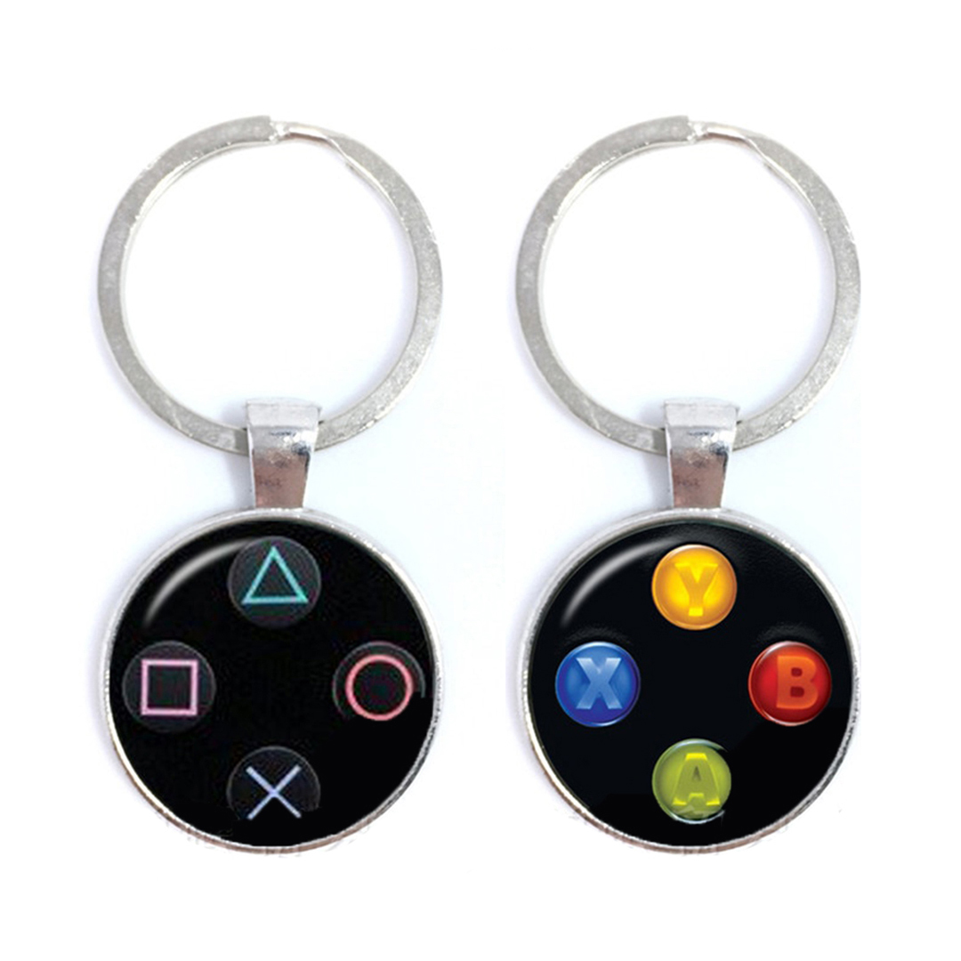 Video Game Controller Keychains Cool Men Gaming Gamer New Vintage Jewellery Fashion Jewelry Key Ring Holder Glass Keychain