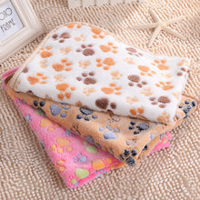 New Cute Dog Bed Mats Soft Flannel Fleece Paw Foot Print Warm Pet Blanket Sleeping Beds Cover Mat For Small Medium Dogs Cats(China)