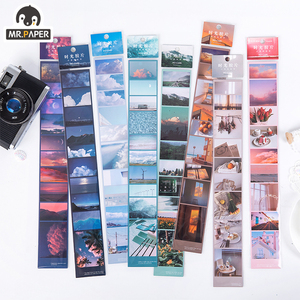 Mr.Paper 8 Designs Aesthetic Fantasy Sky Holiday Time Memory Bullet Journaling Deco Sticker Foggy PET Material Masking Tapes(China)