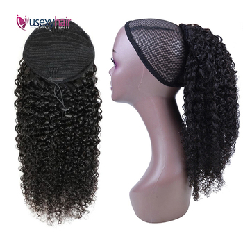 цена на USEXY Curly Drawstring Ponytail Human Hair Clip In Human Hair Extensions Remy Brazilian Hair Natural Color For Black Women