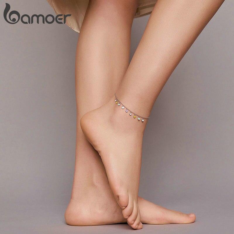 bamoer 925 Sterling Silver Enamel Heart Pendant Chain Anklet for Women Summer Foot Bracelet Feet Jewelry 2020 New SCT020