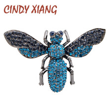 CINDY XIANG 2 Colors Availbale Rhinestone Vintage Bee Brooch Large Insect Pin Brooches For Women Autumn Winter New Design Gift