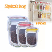 1PC Reusable Storage Zipper Stand Up Bag Pouches Zip Lock Jar PE Lock Food Grade Plastic Bags Smell Proof Clip Accessories 3(China)