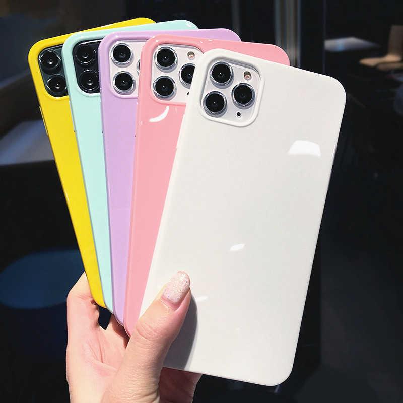 Lovebay renkli telefon kılıfları iPhone XR X XS Max 6 6S 7 8 artı 11Pro Max şeker düz renk yumuşak TPU parlak basit arka kapak