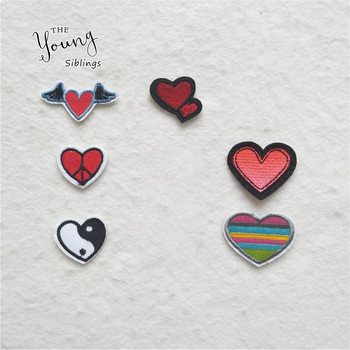 Hot sale Love heart Iron Patches For Clothing Embroidered Applique Cute Sticker Strip On Clothes Sewing Patches Jean Jacket DIY image