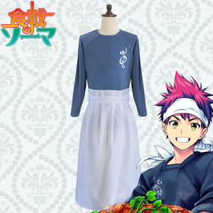 Commercio all'ingrosso di New Giapponese Anime Cibo Wars Shokugeki no Soma Cosplay Costume Yukihira Souma T-Shirt + Grembiule + Fascia Per Capelli 3pcs set