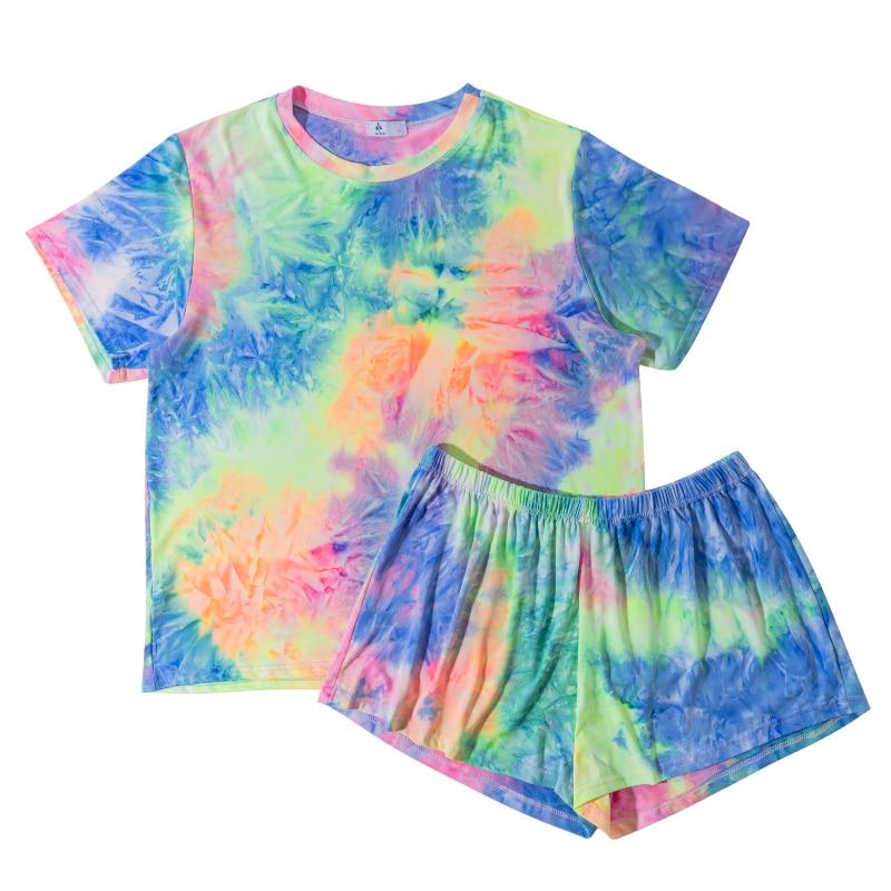 Summer Tie Dye Pajamas Sets for Women Casual Breathable Sleepweare Short Sleeve Tee Shirt Pajama Set