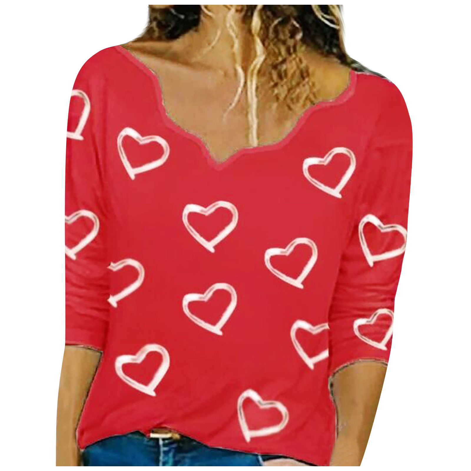 40 # Футболки с v-образным вырезом полный женский разноцветный модный Асимметричный пуловер с рисунком сердца, футболка с длинным рукавом, то...