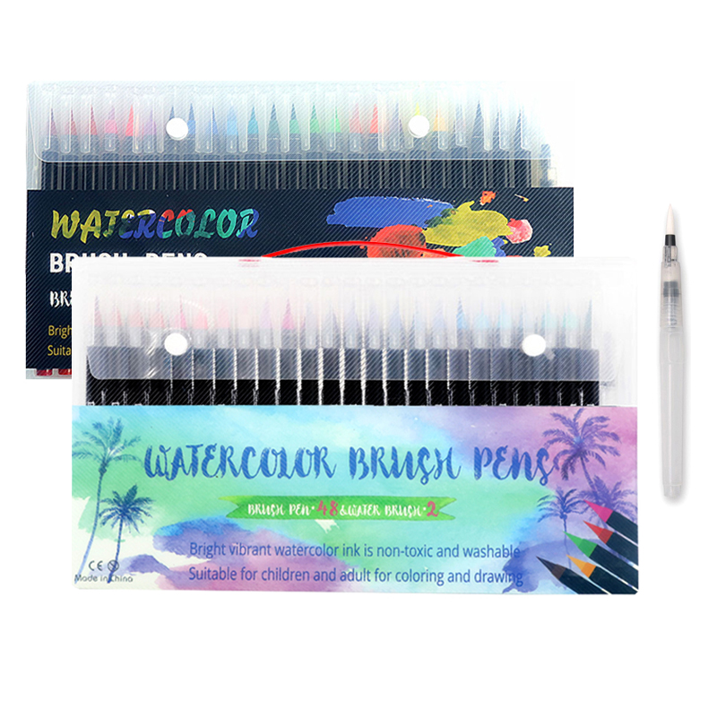 NEW 48 Color Premium Soft Brush Pens Watercolor Painting Art Markers Pen Set Coloring Books Manga Calligraphy Stationery