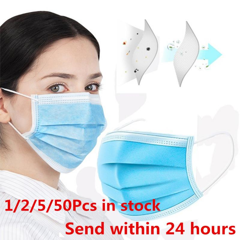 1/2/5/50Pcs Anti-Dust Fog Mask 3 Layers Non-woven Haze-proof Mouth Face Mask Anti-particle Half Face Disposable Mouth Masks