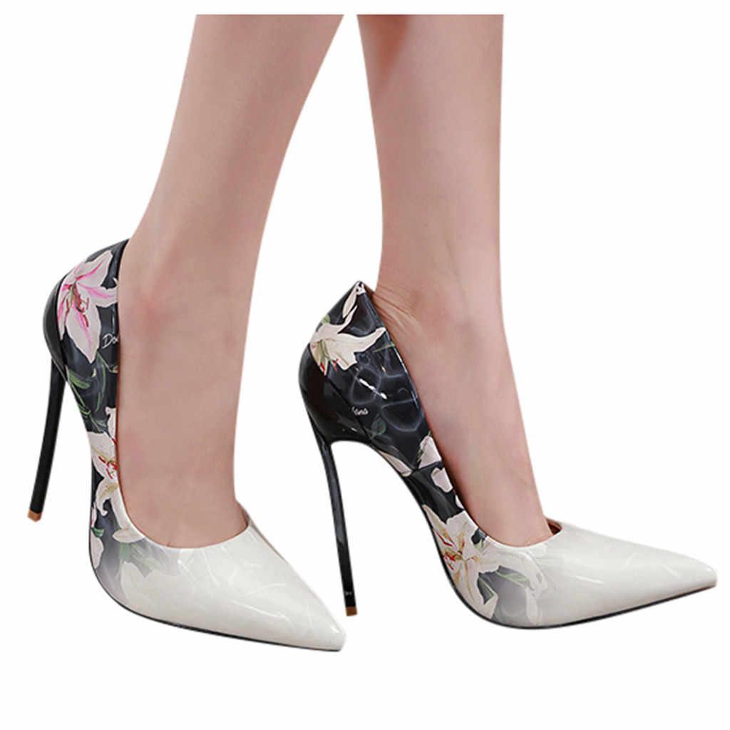 Delle Donne Del Fiore Tacchi Alti Stileto Scarpe a Punta Singola Scarpe da Donna Sexy Scarpe da Lavoro
