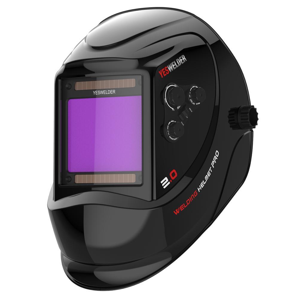 YESWELDER Out Control True Color Welding Helmet Big View Area Welding Mask 4 Arc Sensor DIN5~13 Solar Auto Darken Welder Cap