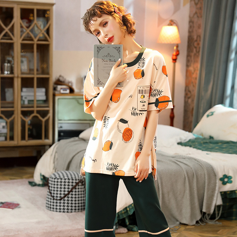 5XL Pure Cotton Pajamas Women's Summer Short-sleeved Capri Pants Set 200 Thin GIRL'S Students Plus-sized Home Wear