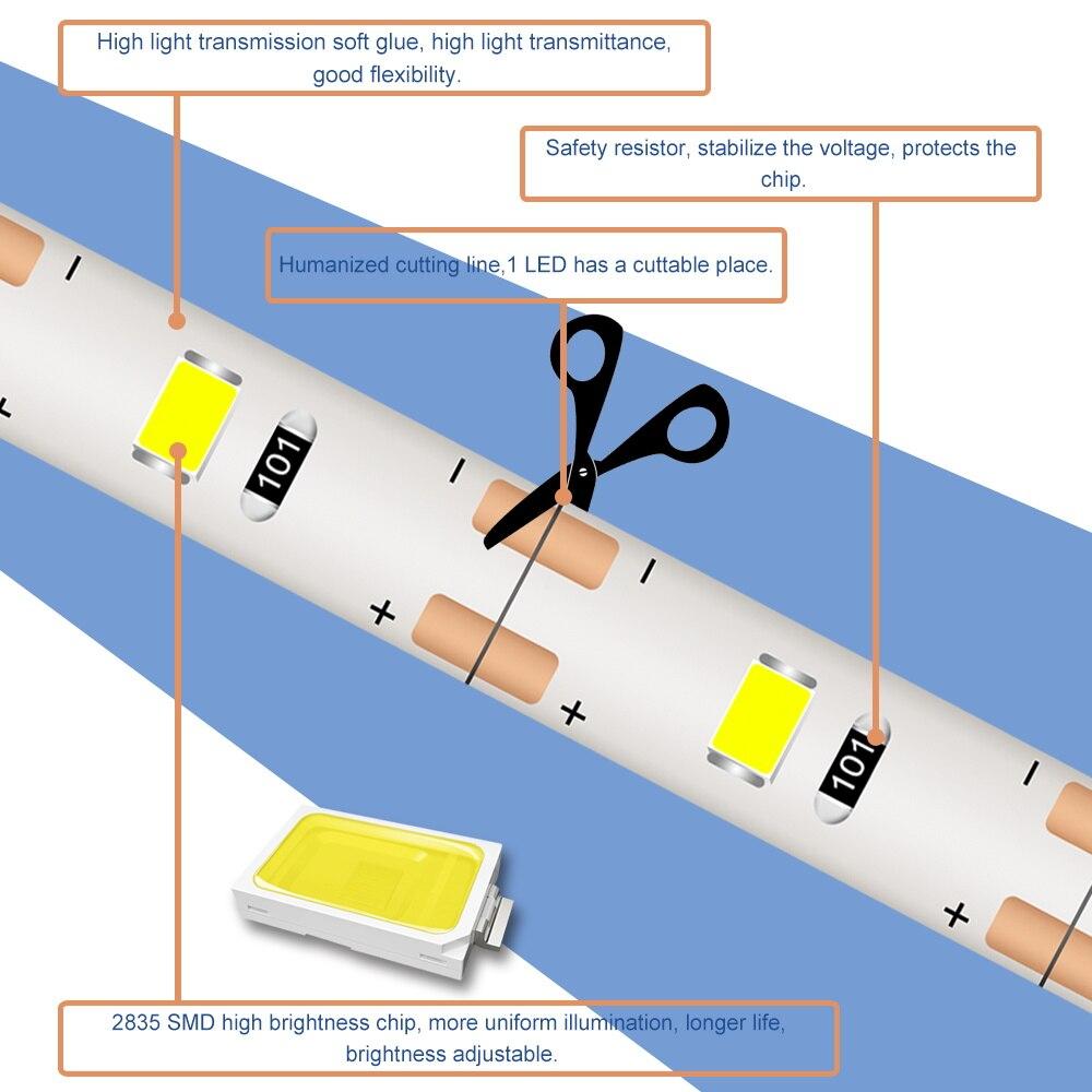 Wireless Motion Sensor LED Strip Light 5M USB Fita LED Strip Lamp Tape TV Under Bed Cabinet Closet Wardrobe Stairs Night Light 5