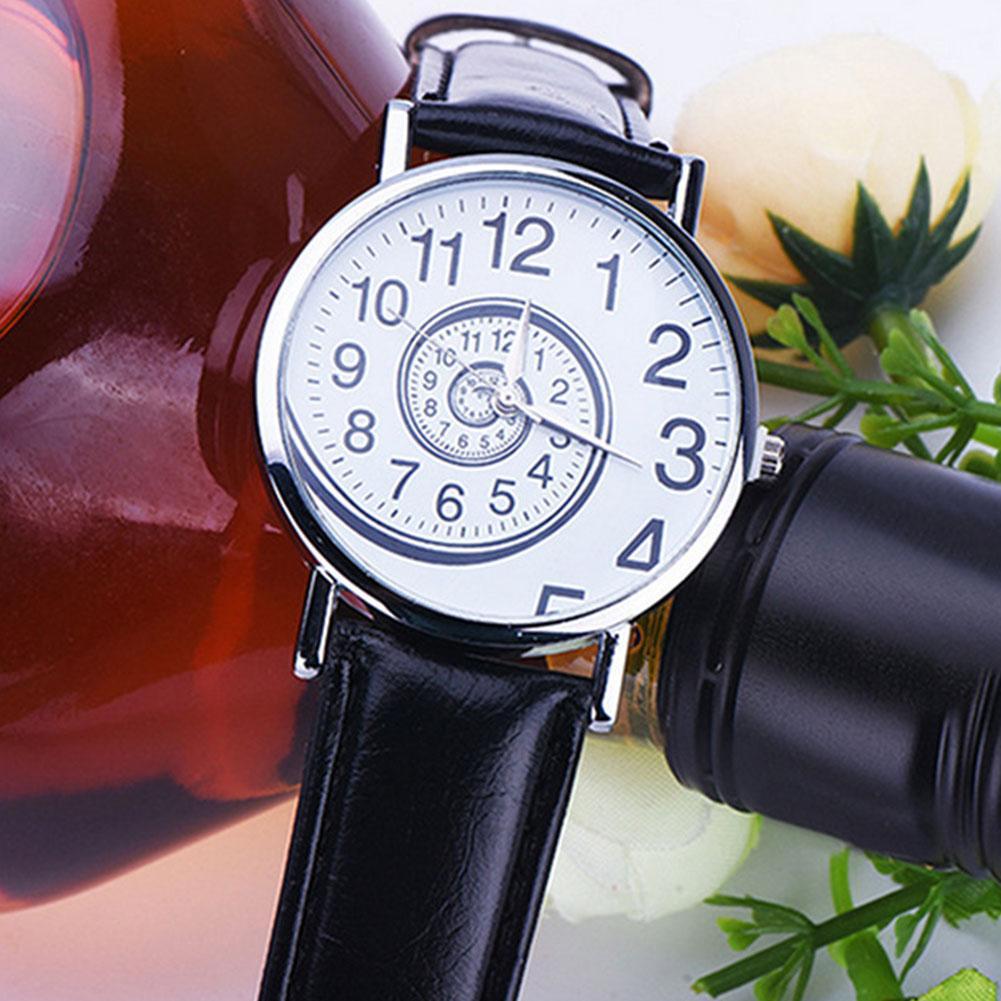 Fashion Unisex Swirl Pattern Round Dial Faux Leather Band Analog Quartz Watch