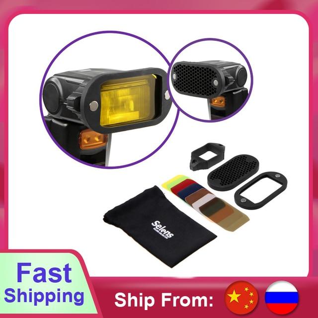 Selens flaş Speedlight petek izgara difüzör reflektör ile manyetik jel bant 7 adet filtreler flaş aksesuarları kiti