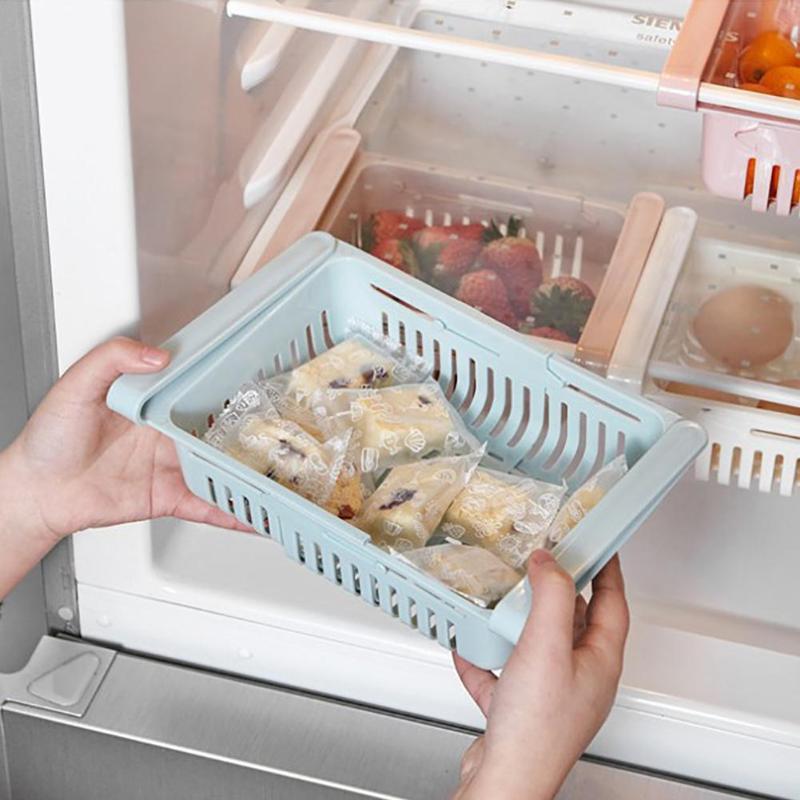 Multi-Purpose Adjusbltae Refrigerator Fresh Spacer Layer Storage Box FoodFruit Organizer Storage Tray Kitchen