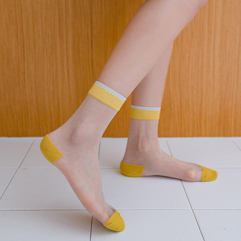 Women's Fashion Socks 2020 New Color Long Thin Ankle Socks Women Breathable Striped Thin Transparent Korea Style Women Socks