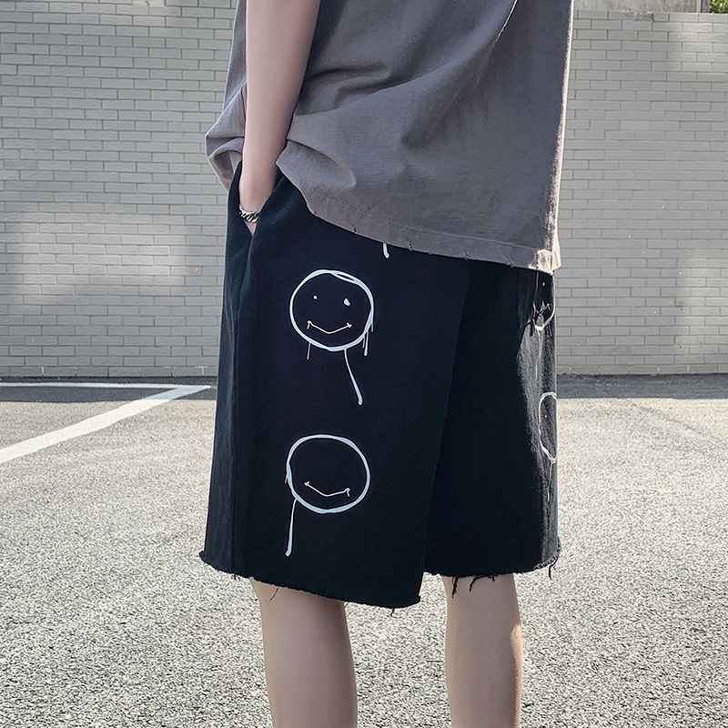 Men's shorts 2020 summer new slim smiling face five minutes pants shorts casual casual fashion personality youth men's wear