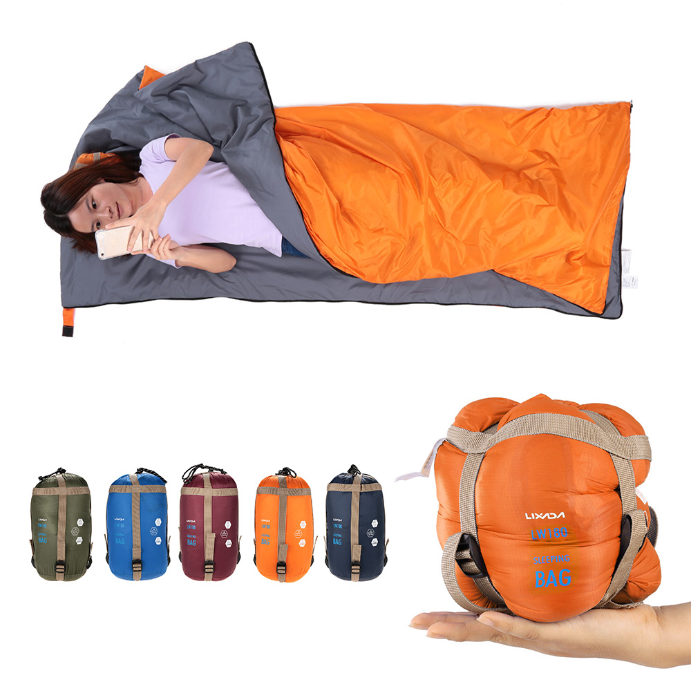 Lixada 190*75cm Camping Envelope Sleeping Bag Ultralight Travel Mini Lazy Bags With Compression Bag Equipment Spring Autumn