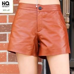 2020 New Winter Womens Shorts High Quality Genuine Leather Shorts Female Slim Fit High Waist Wide Leg Shorts Plus Size M-3XL