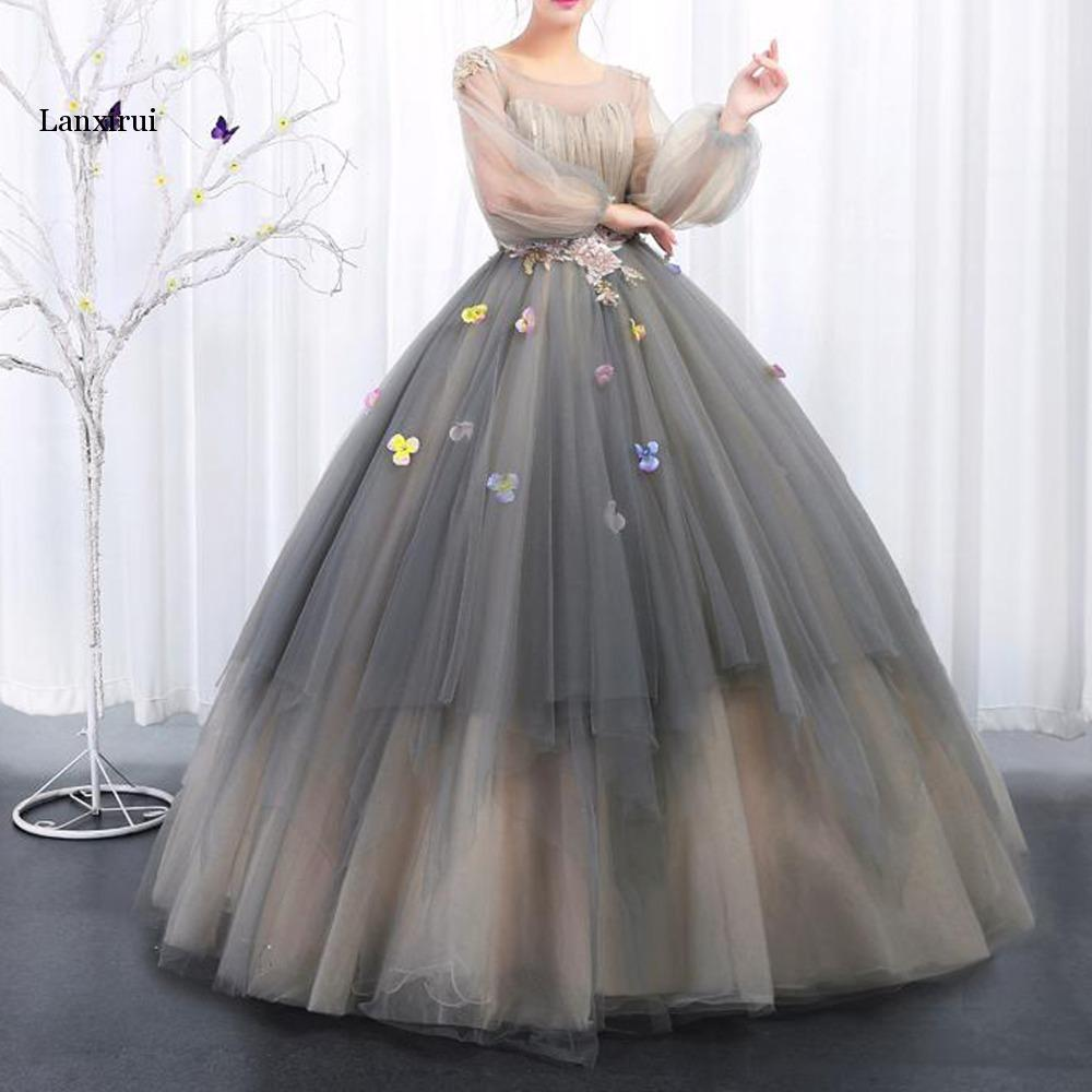 Vintage Princess Tutu Floral Dresses With Puffy Full Sleeves Sparkle Sequined Beaded Long Prom Gowns Lace Up Robe De Bal