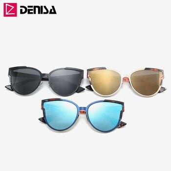 DENISA Vintage Cateye Sunglasses Women Luxury Brand Blue Mirror Sun Glasses Retro Black Shades For Women UV Protection G9018 10