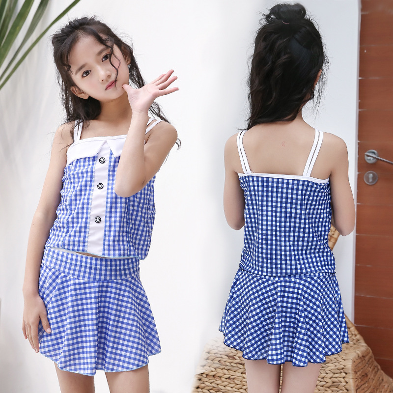 2019 New Style KID'S Swimwear Fashion Plaid One-piece Boxer Skirt Conservative Hipster Girls Hot Springs Swimwear