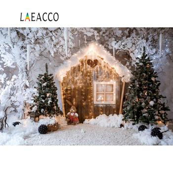 Winter Christmas Backdrops For Photography Snow Wooden House Dolls Tree Fruit Dreamy World Photography Background Photo Studio kate winter backdrops photography ice snow tree scenery photo shoot white forest world backdrops for photo studio