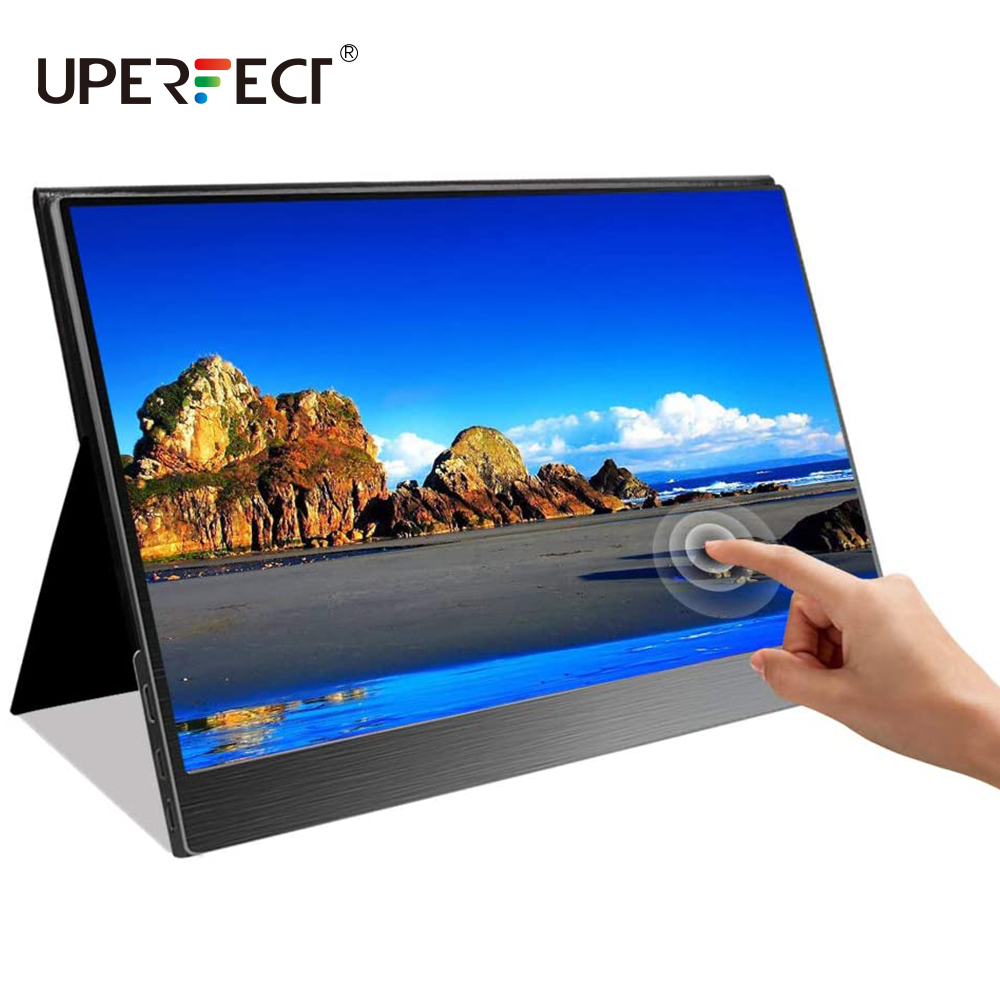 15.6 <font><b>Inch</b></font> 1080p USB Portable Monitor <font><b>Touchscreen</b></font> Bulit in Speakers for Smart Phone MacBook Type C Windows Laptops Gaming Console image