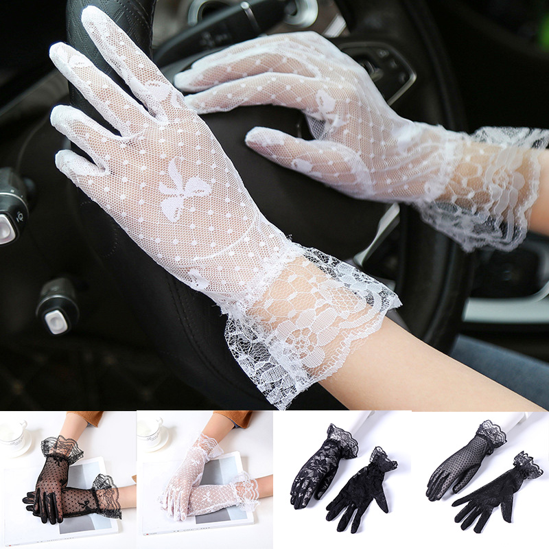 2020 Female Sexy Lace Summer Sunscreen Gloves Ladies Ceremony Women's Gloves Breathable Short Lace Full Finger Gloves Wholesale