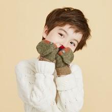 Брендовые новые модные перчатки унисекс теплые мягкие детские зимние перчатки без пальцев перчатки в полоску