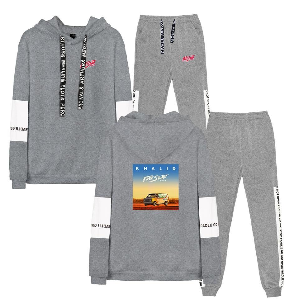 Khalid Robinson Women/Men Sportswear Autumn Winter Warm Tracksuit Two Piece Set Stripe Sweatshirt Sweat Suit Home Clothing