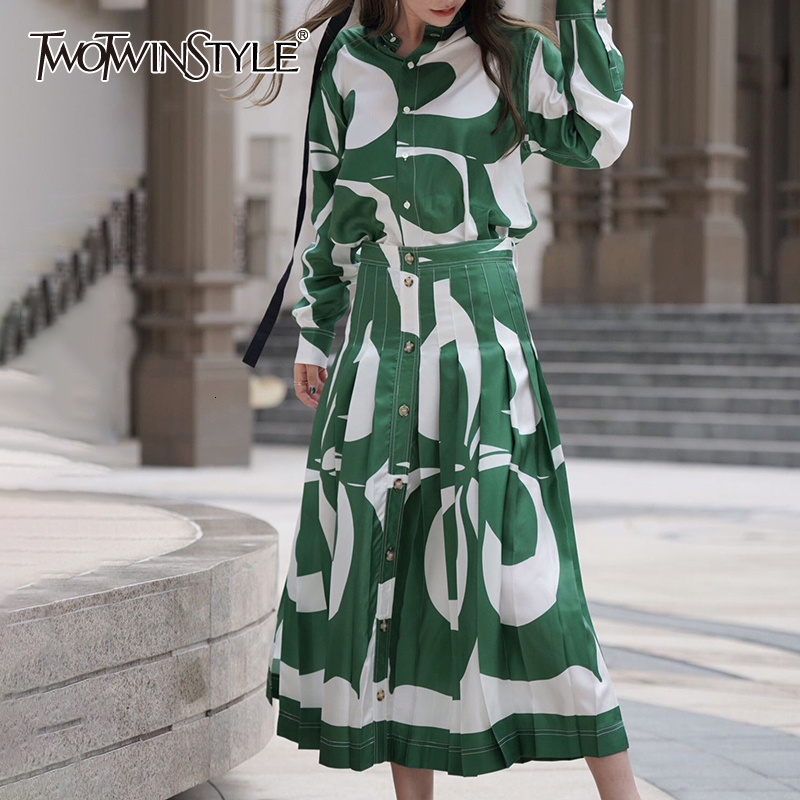 TWOTWINSTYLE Print Hit Color Two Piece Set For Women O Neck Shirt High Waist Skirt Female Suit 2019 Autumn Big Size Fashion New