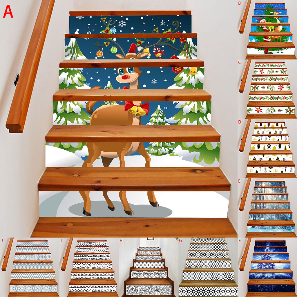 3D DIY Stairs Risers Stickers Removable Wallpaper Staircase Stickers Self Adhesive Christmas Santa Tile Stair Stickers